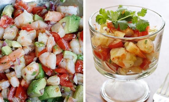 Пикантный салат с криветок и авокадо